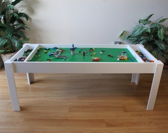 Building bricks table, Activity table, Building blocks table, kids table,  compatible with Lego® table and bricks, and duplo, train table