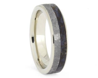 Thin Meteorite Fossil Ring, 14k White Gold Wedding Band With Dinosaur Bone, Natural Jewelry