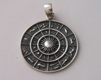 Handcrafted Oxidized .925 Sterling Silver Astrology Zodiak Symbols Sun Pendant