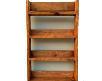 Reclaimed Rustic Spice Rack 4 Shelves 56cm Tall Open Top Medium Oak Finish, Choice of Widths