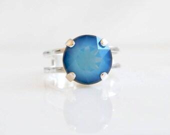 Blue opal ring with Swarovski Crystal - Blue Crystal ring