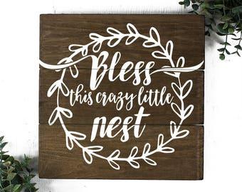 Bless this Nest Wood Sign Farmhouse Decor Sign
