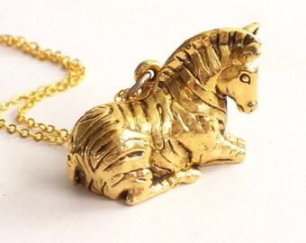 Zebra Perfume Locket, Vintage Zebra Pendant Necklace, Perfume Pendant, Gold Zebra Locket, Max Factor Perfume, Animal Jewelry, Horse Locket