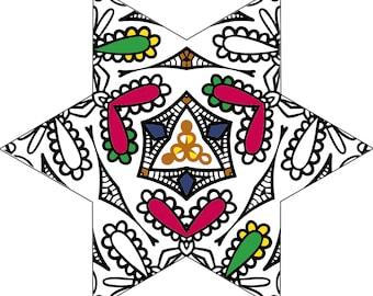 Five Beautiful Starburst Mandala Adult Colouring Digital Printable Page