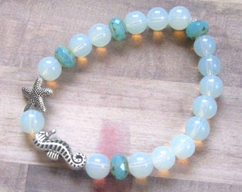 Beach Vibes Seahorse & Starfish Beaded Bracelet with Opalite and Czech Glass Beads