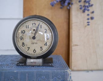 Vintage Metal Black and Silver Westclox Baby Ben Clock