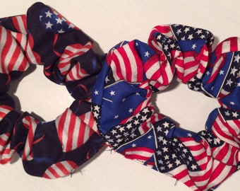 Two Hair Scrunchies Scrunch Set Lot Red White Blue Americana 4th July USA Patriotic Schru Flag Scruncheys Ponytail Pony Tail Elastics Holder