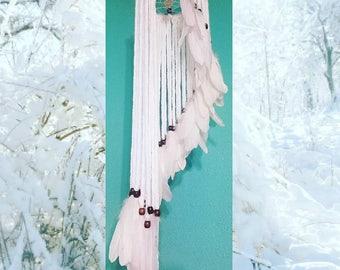 Angelic, Snowy White Waterfall Dream Catcher