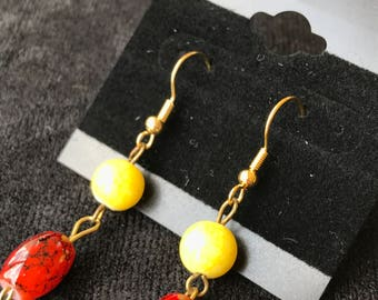 Red Cylinders with Yellow Spheres Earrings