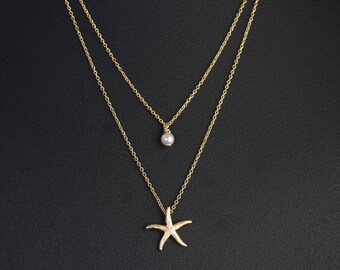 Layered Double Necklace, Dainty Gold Starfish and Pearl, Two Strand Necklace, Delicate Fine Chain