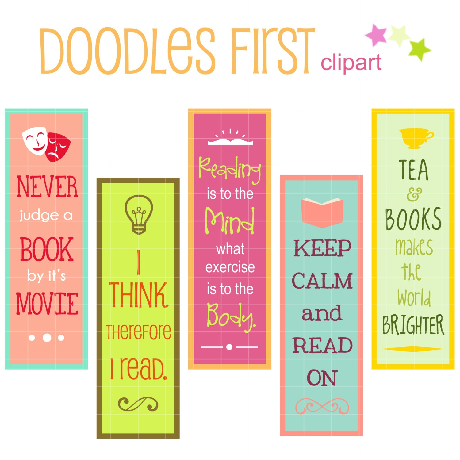 Reading Quotes For Kids Reading Quotes Bookmarks Digital Clip Art For Scrapbooking
