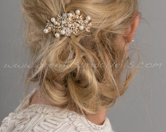 Wedding Hair Comb, Rhinestone Pearl Headpiece, Rhinestone Bow Hair Comb - Blair