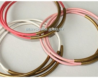 3 Antique Gold Tube CUSTOM Leather Bangles - Pick Color Leather / Size, Lead Free Leather Single Tube Bangles - Stacking Bracelets