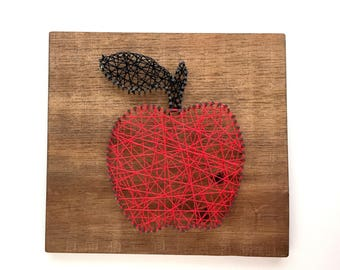 Apple String Art, Red String Art, Rustic Decor, Teacher Gift, Teacher Appreciation, Red Apple, Country Decor, Day Care Gift, kitchen decor,