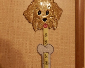 ITH Growth measure Dog set with Bone slider Machine embroidery design for  5x7 + hoop