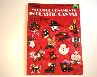 Yuletide Ornaments in Plastic Canvas Leaflet # 1262 Pattern Christmas Ornaments Santa Mrs Claus Snowman Rudolph Tree Wreath Sleigh Stocking