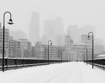 Snowy Stone Arch Bridge, Minneapolis, Minnesota, Mississippi River, Skyline, Downtown, Winter, MPLS - Travel Photography, Print, Wall Art