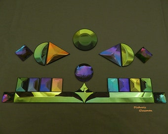 21 pc Dichroic Glass Bevels and Faceted Jewels ideal for stained glass applications - supplies set 0020