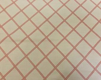 Salmon Diamond Motif On Cream Heavy Weight Cotton Blend