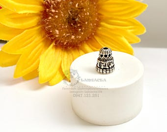 Silver charm s925 7mm, 9mm thai silver diy torus S925 silver crafted flower torus bead caps 2211067