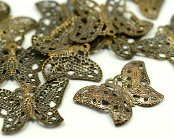 15 Pcs. Antique Brass 15x22 mm  Butterfly Filigree Charms Findings