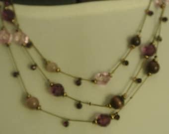 Pretty 3 Strand Pinks and Purple Beads Necklace