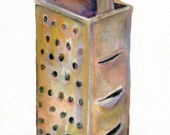 Druck von meinem Vintage Box Reibe Aquarellzeichnung 5 x 7 Kulinarie, Küche Utensil Abbildung, Restaurants, Essen, Kunst, Küche décor