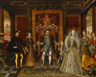 An Allegory of the Tudor Succession: The Family of King Henry VIII. Fine Art Print/Poster (5117)