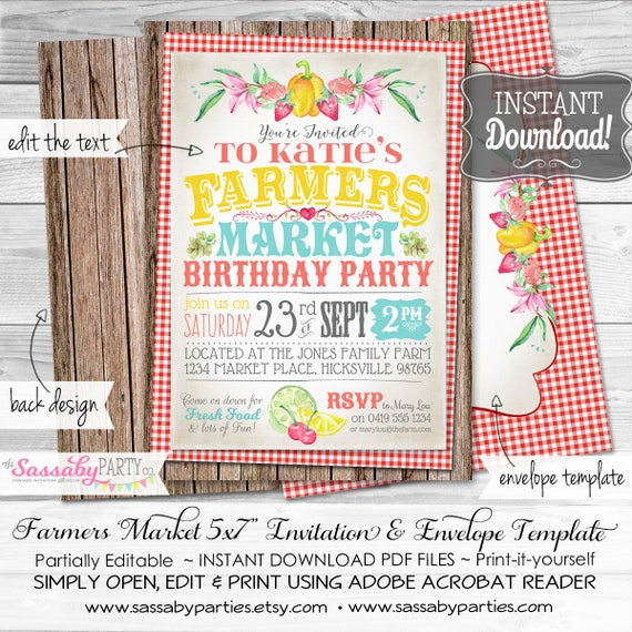 Farmers Market Invitation INSTANT DOWNLOAD Partially