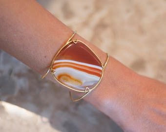 Cuff Orange Agate Gold