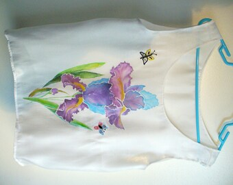 Hand painted blouse, hand made, unique piece, wearable art, white, flowers, light, elegant, one-of-a kind