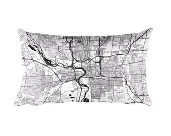 Columbus Pillow, Columbus Decor, Columbus Throw Pillow, Columbus Map, Columbus Art, Columbus OH, Columbus Ohio, Map of Columbus, Cushion