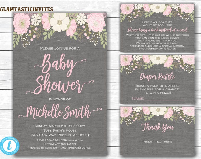 Baby shower Invitation Package, Floral Baby Shower Invitation, Baby Shower Template, Watercolor, Baby Shower Invite, You Edit