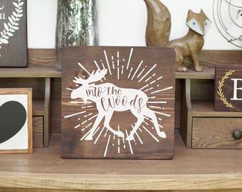 Moose sign Moose art Moose decor Wood moose sign Wood camping sign Wood hunting sign Boy scouts sign Forest nursery Woodland nursery Boy art