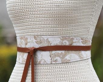 REVERSIBLE Leather And Fabric Belt Obi Wrap Sash - Speckle Swirl - XS S M L Petite & Plus Size - custom leather color choice steampunk motif