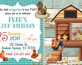 Crazy Chicken Lady Birthday Invitation