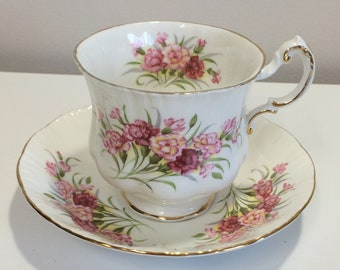 Vintage Paragon English Flowers Carnations Tea Cup and Saucer