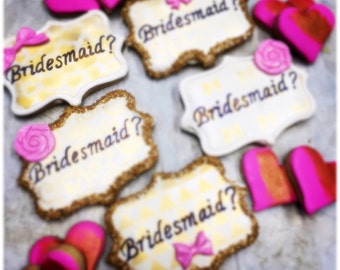 Will you be my bridesmaid cookies  sugar cookie gift     Bridesmaid cookies