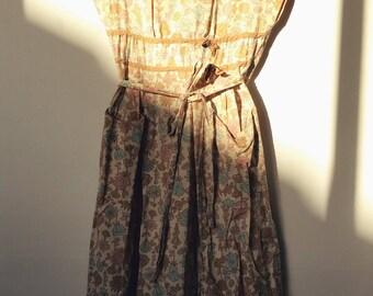 1950s Vintage 'Swirl' Cotton Wrap Dress Rare