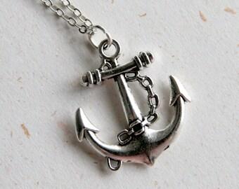 Anchor Necklace (N332) in vintage silver color