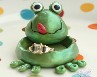 Polymer Clay Frog Ring Holder