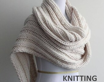 Knitting pattern - scarf pattern, PDF Instant Download Knitting Pattern, knitted scarf PATTERN, a DIY tutorial, #0060
