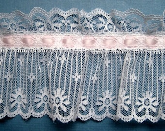 """Extra Wide Ruffled Lace With Ribbon Beading, Light Pink / White , 4 1/2"""" inch wide, 1 Yard, For Victorian & Romantic Projects"""