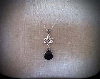 Eternité en argent Collier Pendentif Cristal noir de jais, mariage celtique, bijoux de mariée Outlander ensemble l'éternité noeud d'amour boucles d'oreilles