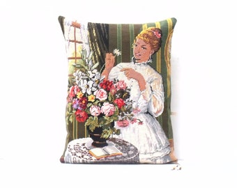 Huge Unique French  Needlepoint Tapestry The Flower arranger Hop sack weave reverse  Statement Pillow Cushion