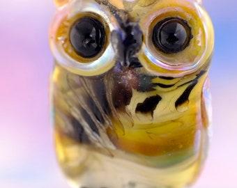 Laird...... lampwork owl  bead............ sra