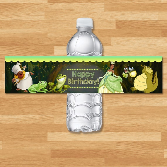 Princess and the Frog Drink Labels - Chalkboard - Frog Princess Water Bottle Labels - Princess Drink Wrap - Frog Princess Party Printables