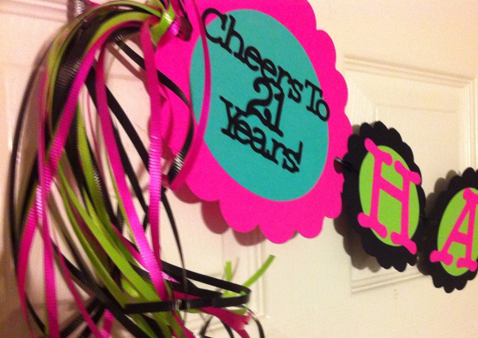 ?zoom  sc 1 st  Etsy & 21st Birthday Party Decorations Personalization Available