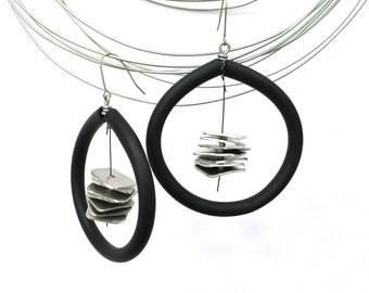 Contemporary earrings African earrings Unique earrings Dangle earrings Black earrings Statement earrings Popular earrings Hoop earrings.