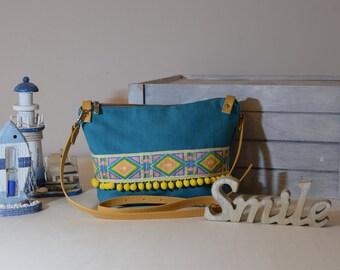 Turquoise shoulder bag, hand made Bora, handbag, clutch, crossbody bag